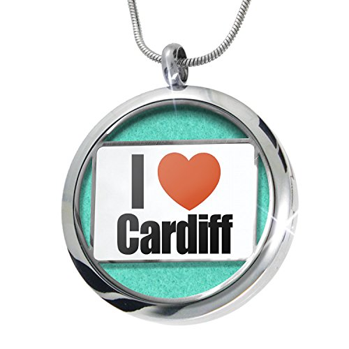 Cardiff Pendant (NEONBLOND I Love Cardiff region: Cardiff, Wales Aromatherapy Essential Oil Diffuser Necklace Locket Pendant Jewelry Set)