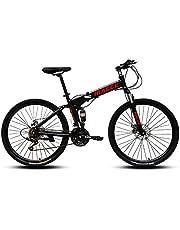 """MACCE Unisex Adult 21 Speed Folding Mountain Bike, Spoked Wheel 26"""", Black, Size L"""