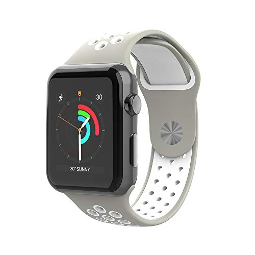 CIZITZZ Sport Band Compatible with Apple Watch 38mm/42mm, Soft Silicone Replacement Strap for iWatch Series 4/3/2/1 (Grey&White, 38mm)