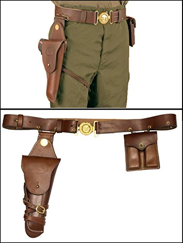 Ultimate Arms Gear Tactical U.S. Cavalry Military Gunfighter Reproduction Genuine Leather Dark Brown 1911 Sized Pistol Set 1912 Gun Holster+Double Dual Magazine Pouch Holder+Belt Combo