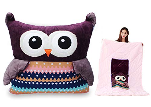 """d Animal Plush Blanket & Cuddly Pillow & Seat Back Cushion 3-in-1 Combo, Super Soft Flannel Blanket 39"""" x 59"""" and Cute Throw Pillow 13"""" x 13"""" (Purple) ()"""