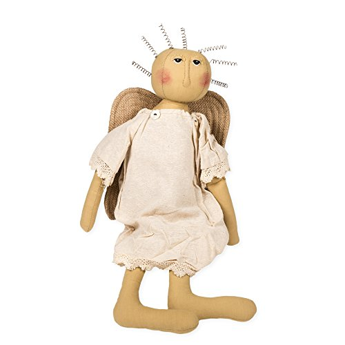 Angel Doll Primitive (Honey In Me Small Vintage Linen and Lace Angel 18 inch Plush Doll Figurine Decoration)