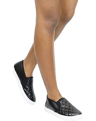 Anna Femme Matelassé Slip Sur Baskets / Chaussures De Sport Noir