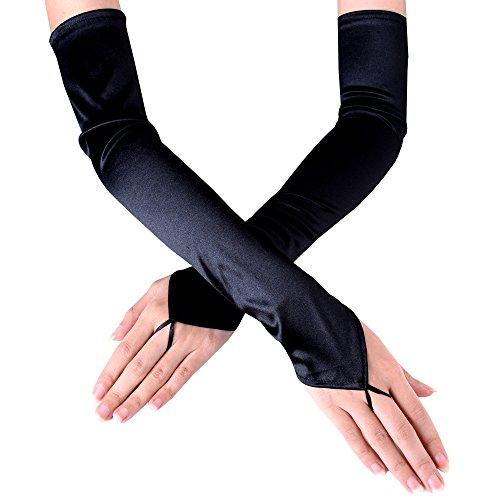 JISEN Women's Fingerless Long Over the Elbow Shinny Satin Bridal Opera Gloves 18