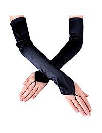 JISEN Women's Fingerless Long Over the Elbow Shinny Satin Bridal Opera Gloves 18 inch Black