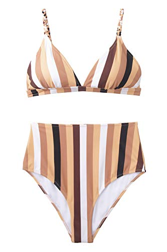 CUPSHE Women's Bold Stripe High Waisted Bikini Not So Nude Large ()