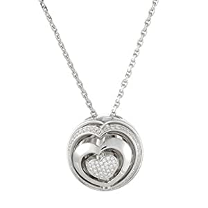 Chopard Womens 18K White Gold Diamond Heart Ball Pendant Necklace