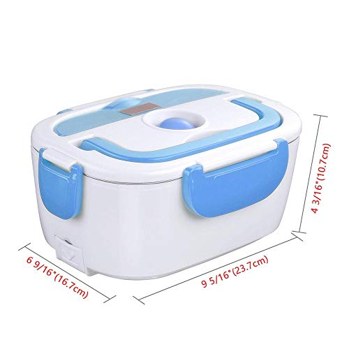 Yescom 1.5L Portable Electric Lunch Box Food Grade 304 Stainless Steel Container Car Food Warmer Lunch Heater Spoon Blue