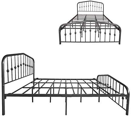 Metal Bed Queen Size Platform Bed Frame Morden Design Heavy Duty Steel Slat and Support, Black 41v5yMSYMWL