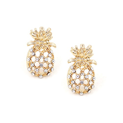 Hanloud Gold Hollow Pineapple Earrings Cute Unique Fruit Jewelry Design for Women and Girl - Tiffany Style Pave