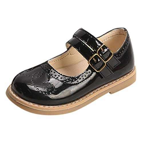 〓COOlCCI〓Toddlers Little Kids Girl Flat Sandals,Closed Toe Two Straps Mary Jane Style,Princess Flat Shoes Dress Shoes Black