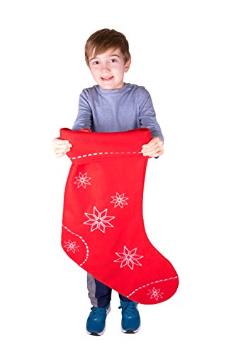 Extra Large Unique Cloth Hanging Christmas Stocking | For Kids, Teens, and Adults | Large Red and White Snowflake Holiday Decor Theme | Perfect for Small Gifts, Stocking Stuffers, and Candy | 26