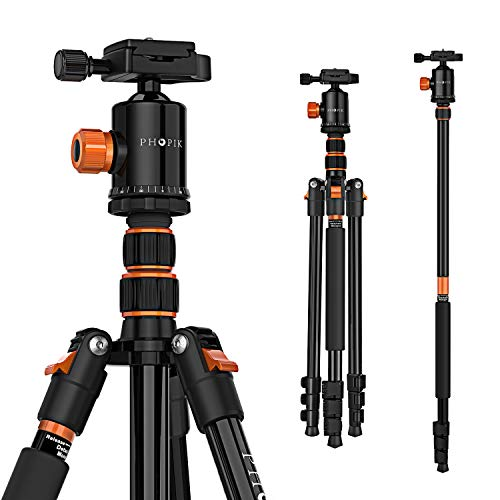 "PHOPIK 77 Inches Tripod, Lightweight Aluminum Camera Tripod for DSLR, Photography Tripod with 360 Degree Ball Head 1/4"" Aluminum Quick Release Plate Professional Tripod Load up to 17.6 Pounds"