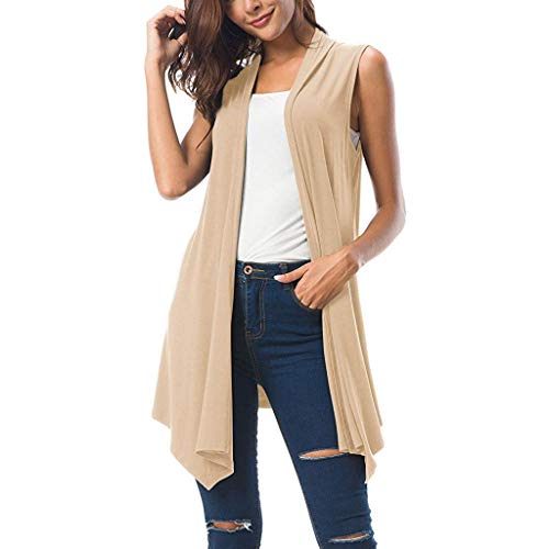 TANLANG Womens Elegant Sleeveless Draped Cardigan Tank Vest with Asymmetrical Flowing Hem Leisure Tops Tunic Shirt Blouse Khaki