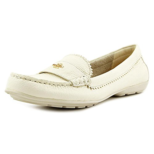 Coach Womens Odette Leather Almond Toe Loafers Chalk Pebble Grain Leather