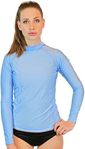 Swim Shirts for Women - UV 50 Sun Protection Long Sleeve Rash Guard Swimsuit Tops with SPF Skin Protection, Made in USA!