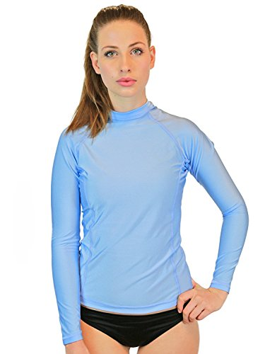 Rash Guard Women Long Sleeve - Womens Swim Shirt - MADE IN USA - ON SALE TODAY - Goddess Rash Guards Are The Ultimate Athletic Compression Shirt. Perfect for Workouts, Crossfit, Swimming, Surfing, Biking and Even Running. Some Goddess's Use Them As Swimsuit or Bathing Suit Coverups. Great For Sun Protection at the Beach, Lake or Wherever You Decide to Be Working out or Relaxing in the Sun. Size's available include XS, Small, Medium, Large, XL. (Light Blue, Large) (Best Surf Spots In Mexico)