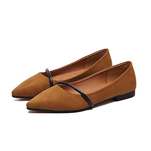 Decorada Plana Brown con la Fina el de pie de Sólidos Xue para Zapatos Simple Plano Colores Solo Punta Fijar Zapato la Chica Qiqi Luz Boquilla Baja con TAAF0HOq