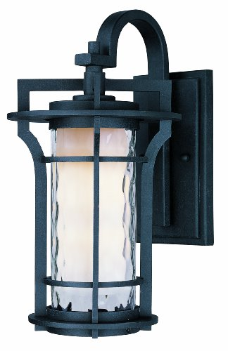 Maxim 30486WGBO Oakville 1-Light Outdoor Wall Lantern, Black Oxide Finish, Water Glass Glass, MB Incandescent Incandescent Bulb , 12W Max., Damp Safety Rating, 3000K Color Temp, Standard Triac/Lutron or Leviton Dimmable, Shade Material, 840 Rated Lumens ()