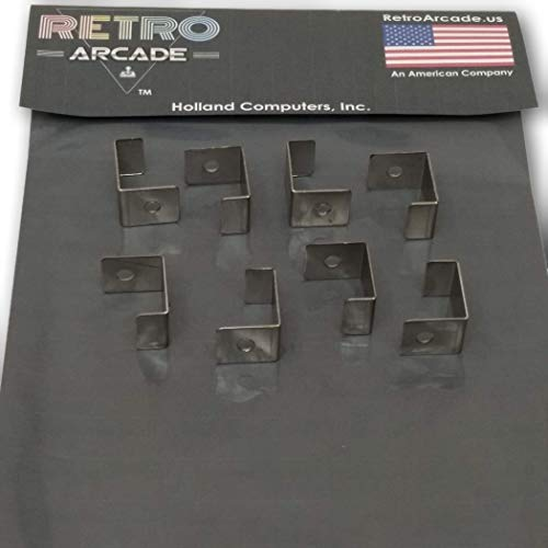 RetroArcade.us ra-cab-Cocktail-cl-8 Arcade Game Stainless Steel Glass Clip for Cocktail Machines and Cocktail cabinets, Set of Eight (8)