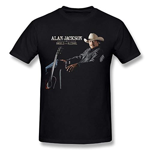 (Mr.C Golden Man's Alan Jackson Angels and Alcohol Breathable Young Traveling T Shirts Gift 2XL)