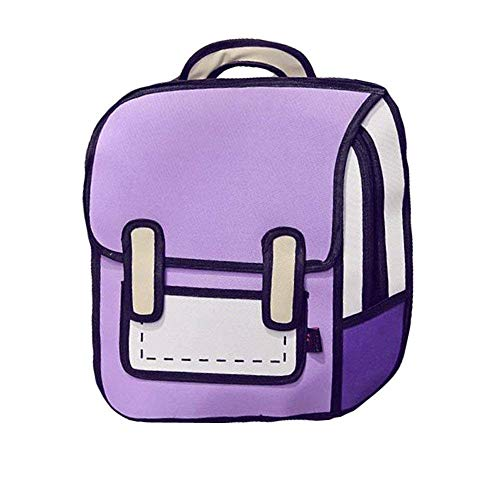 Genius_Baby 3D Drawing Bag Cartoon Comic Vintage Backpack for College Girls Laptop Bag (Purple)