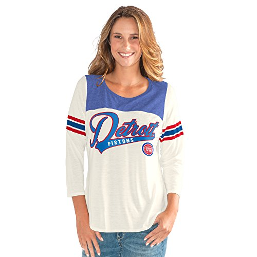 fan products of NBA Detroit Pistons Women's End Zone 3/4 Sleeve Tee, Medium, Vintage White