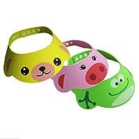 Cren 3pcs Safe Shampoo Shower Bathing Protect cute cartoon Frog Pig Bear Soft Cap Hat for Baby Children Kids by Yiwu chengran Economic Co.,Lt