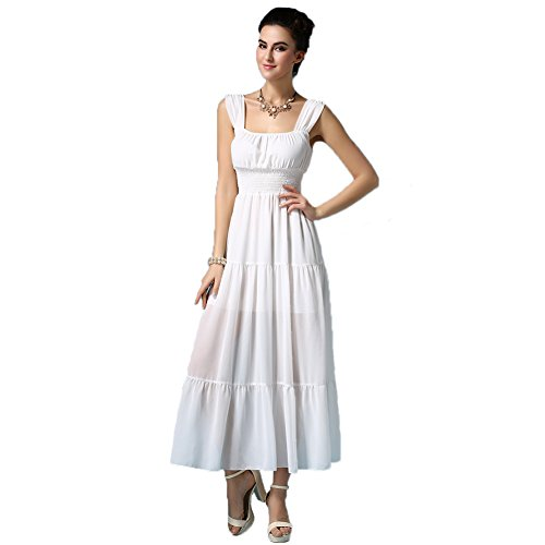 UGE Sleeveless Casual Long Maxi Evening Party Beach Dresses White