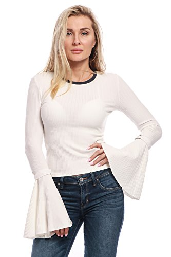 Avoir Aime Women's Ribbed Round Neck Knit Top with Long Bell Sleeves - White, S
