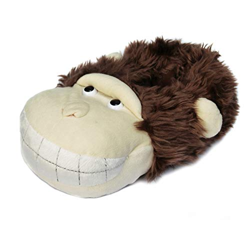 Brown Fuzzy Monkey for Onmygogo Animal Women Slippers Beige Winter With Happy Smiling and Men UAqfSPwx