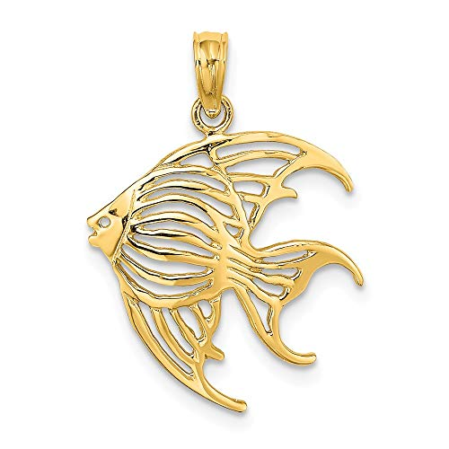14k Yellow Gold Cut Out Angelfish Pendant Charm Necklace Animal Sea Life Fish Fine Jewelry Gifts For Women For Her