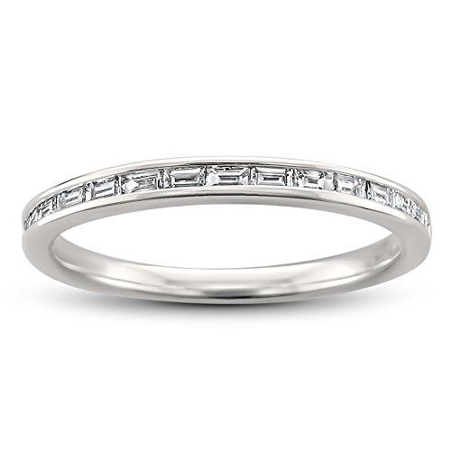 14k White Gold Baguette Diamond Bridal Wedding Band Ring (1/4 cttw, H-I, SI1-SI2), Size -