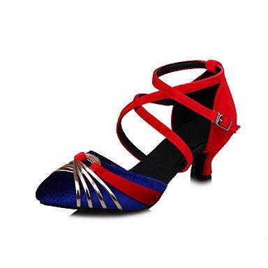XIAMUO Anpassbare Damen Tanz Schuhe Satin Satin Latin Modern Sandalen Ferse Praxis Schwarz Blau Grün Grau, Schwarz, EU/US7.5 38/UK5.5/CN 38