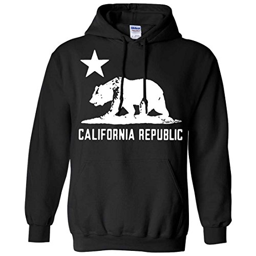 California Flag White Oversized Silhouette Hoodie - Black 4XL (Silhouette Mens Hoodie)