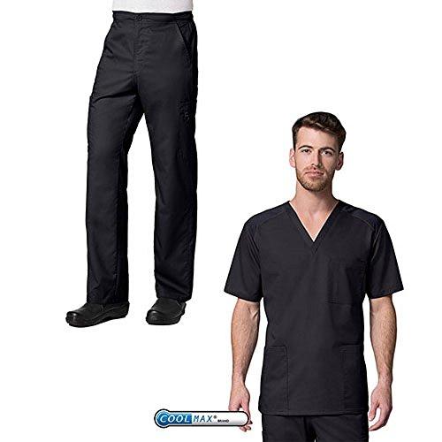 EON Active by Maevn Men's 3-Pocket V-Neck Top & Half Elastic 8-Pocket Cargo Pants Scrub Set (Large, Black) by EON