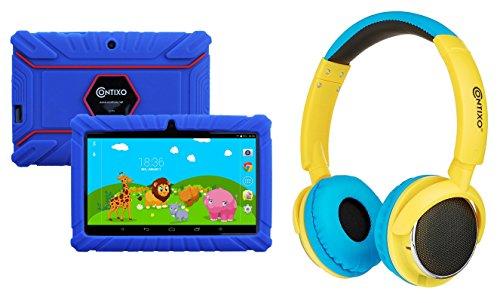 Contixo 7'' Kids Tablet 8gb & Kid Safe 85db Bluetooth Over The Ear Headphones Bundle (Dark Blue) - Best Gift by Contixo
