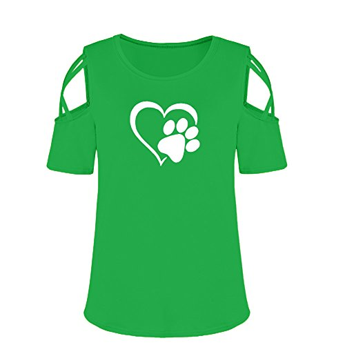 iBOXO St Patrick Day Green Women Summer Short Sleeve Print Strappy Cold Shoulder T-Shirt Tops Blouses(Green,XL) (First Baby Of The New Year Prize 2014)