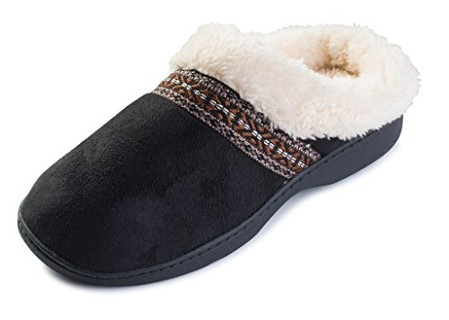 - Beverly Rock Womens Native American Embroidered Fleece Lined Clog Slippers Black