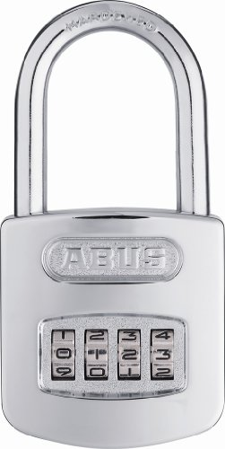ABUS 160/50 All Weather Chrome Combination Padlock - Long Shackle (2
