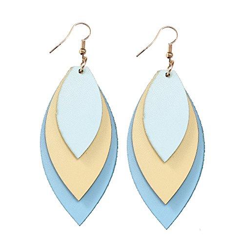 - TIDOO Jewelry Women Three Layers Leather Drop Earring (15# Light Blue+Beige)