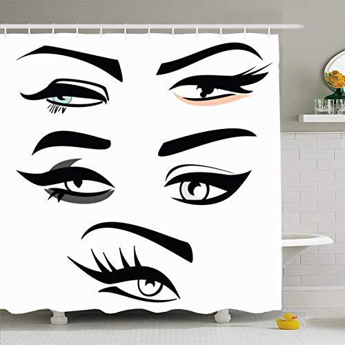 Ahawoso Shower Curtain 72x72 Inches Extension Eyebrow Four Eye Shape Eyeliner Makeup Eyeshadow Shaping Abstract Design Waxing Waterproof Polyester Fabric Set with Hooks