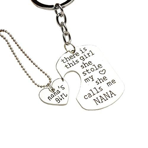 Bling Stars Family Heart Love Silver Pendant Necklace and Keychain Set - Mom Daddy Grandma Grandpa Nana Bae