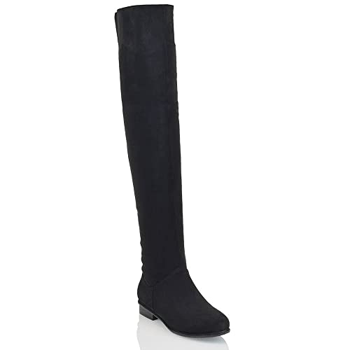 d1bdba2c906a1 ESSEX GLAM Womens Flat Over The Knee Boots Faux Suede Thigh High Biker  Style Shoes