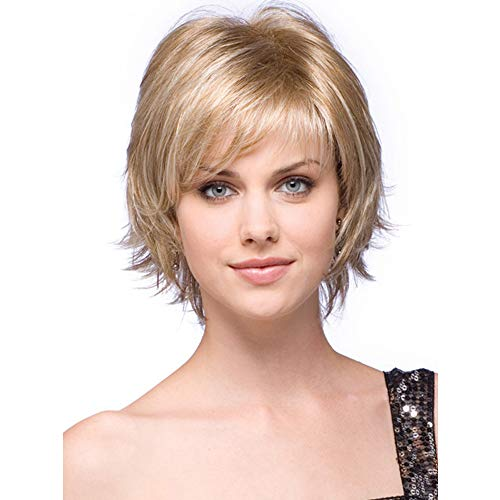 LEJIMEI Short Blonde Wigs for White Women Straight Bob Hair Wigs with Bangs Heat Resistant Synthetic Full Wigs for Women Natural as Real Hair 110g (Blonde) LM050 -
