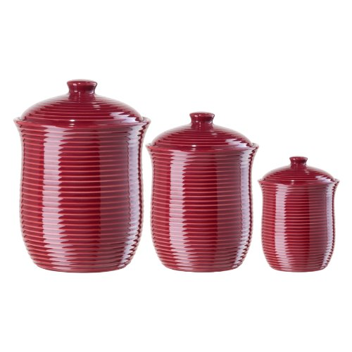 (Oggi Red Ribbed Ceramic Food Storage Canisters, Set of 3 )