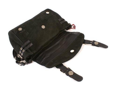 Italian Leather , Borsa Messenger  unisex adulto nero Black