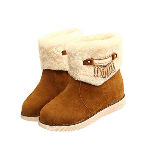 Botas Mujer,Ouneed ® Zapatos de la nieve de la alta calidad de las mujeres de las señoras de la manera calientes planas de la nieve Amarillo