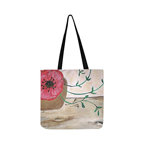 Paint Image Poppy Blossom Bloom Red Draw Canvas Tote Handbag Shoulder Bag Crossbody Bags Purses For Men And Women Shopping Tote ()