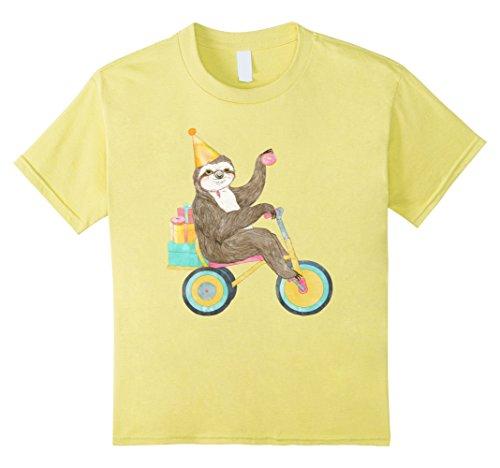 "Kids ""Birthday Sloth"" Cute Animal Silly Graphic T-Shirt 6..."